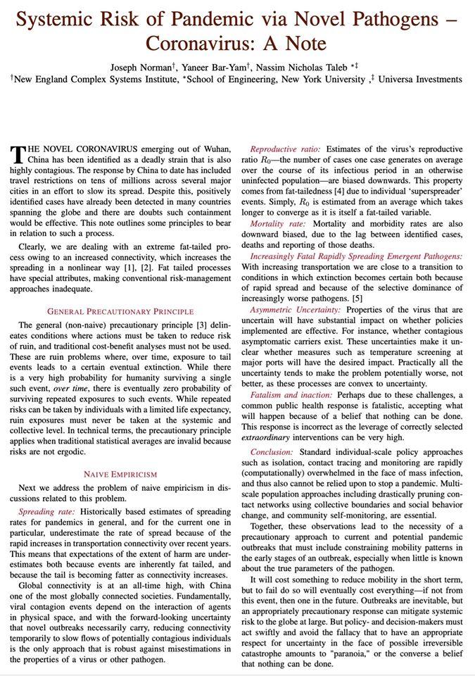 Systemic Risk of Pandemic via Novel Pathogens - Coronavirus